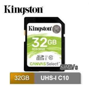 8. Kingston金士頓 Canvas Select UHS-I(U1)・C10:讀取速度80MB/s